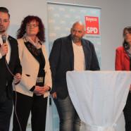 """Gesprächsrunde 1 - überregionale Politik - v.li. Bundestagskandidat Markus Hümpfer, MdEP Kerstin Westphal, """"Blacky"""" Schwarz, MdL Kathi Petersen"""