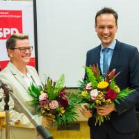 Die beiden Spitzenkandidaten Martina Braum und Florian Töpper